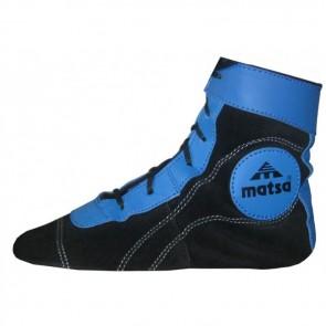 Борцовки кожаные.  Цвет: черно-синие.