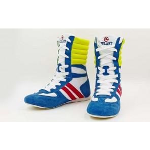 Боксерки кожаные.  Цвет: бело-синий