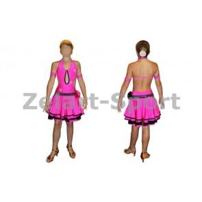 Платье Латина малин-чер. CO-081101-P (нейлон, эластан)