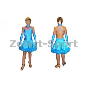 Платье Латина голубой CO-130181-B (нейлон, эластан)