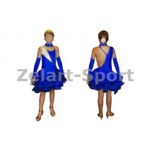Платье Латина синий. CO-130188-B (нейлон, эластан)