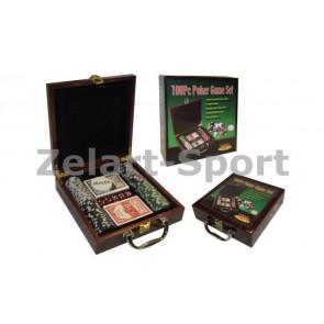 Покерный набор в дерев. кейсе-100 IG-6641