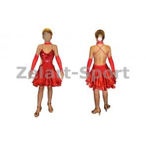 Платье Латина красный. RLD101150   (нейлон, эластан)