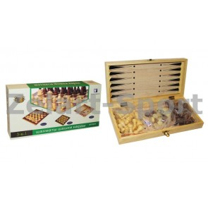 Шахматы, шашки, нарды набор настольных игр W3015