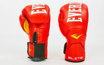 Перчатки боксерские кожаные на липучке ELAST MA-6758-R