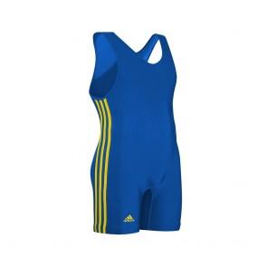 Борцовское трико Adidas (синее, три желтые полосы по бокам)