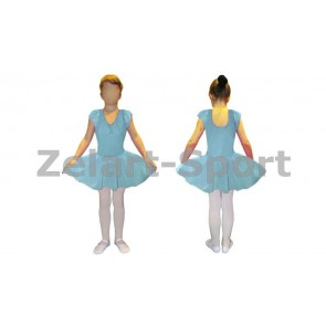 Платье для танцев (бейсик) голубое CHD01-BL (х-б, шифон)
