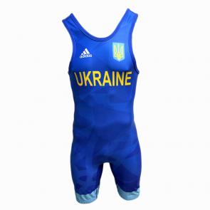 Трико для борьбы Adidas голубого цвета. Аккредитация UWW. (Надпись UKRAINE на груди)