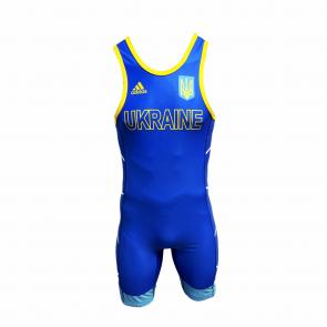 Трико для борьбы Adidas синего цвета. Аккредитация UWW. (Надпись UKRAINE на груди)
