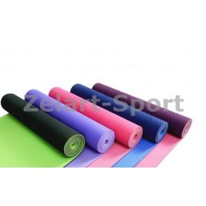 Коврик для фитнеса 2-х цветные TPE+TC 6мм FI-3046 Yoga mat