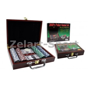 Покерный набор в дерев. кейсе-200 IG-6642