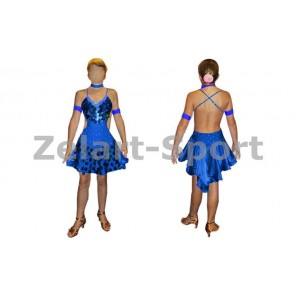 Платье Латина синий. RLD081104-B  (нейлон, эластан)