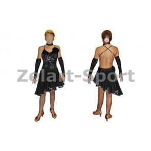 Платье Латина черн. RLD120173-BK (нейлон, эластан)