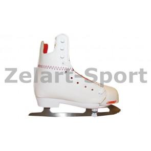 Коньки раздвижные детские фигурные белые PVC TG-KF10H1