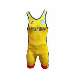 Трико для борьбы Adidas желтого цвета. Аккредитация UWW. (Надпись UKRAINE на груди)